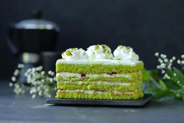 green pistachio cake with butter cream, dessert