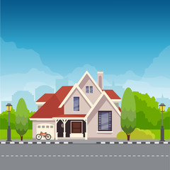 Vector cottage houses, Flat style modern house buildings