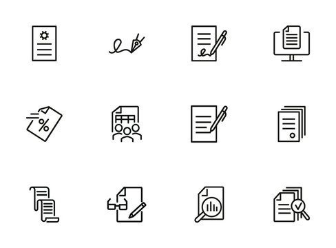 Document line icon set. Statistics, examination, report. Expertise concept. Can be used for topics like signing contract, paperwork, business analysis