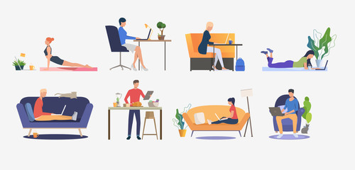 Set of people using computers and having rest. Men and women sitting on sofas, freelancing, cooking and practicing yoga. Vector illustration can be used for presentation slide, commercial, business Wall mural