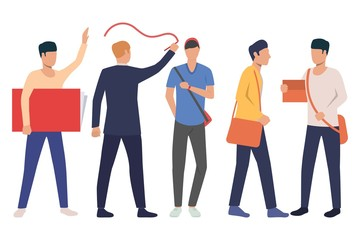 Collection of male students with books and bags. Group of young men studying at university. Vector illustration of flat cartoon characters can be used for promo, knowledge, presentation