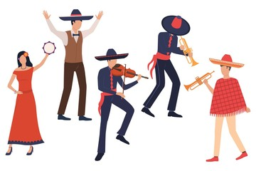 Group of Latin musicians. Set of men in sombreros playing instruments, woman dancing with tambourine. Show concept. Vector illustration can be used for topics like fiesta, Mexico, party