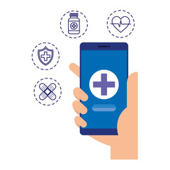 hand using smartphone with telemedicine icons