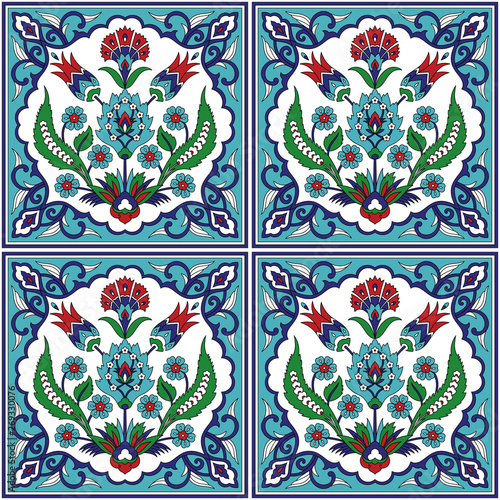 Ottoman iznik tile design with tulip flowers. Islamic background for wallpaper, backdrop, home textile, curtain fabric.