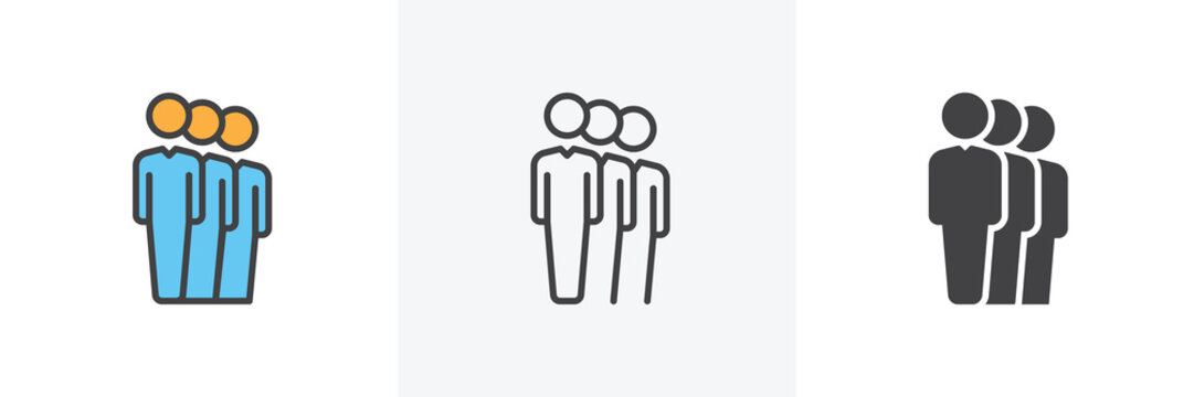 Group of people icon. Line, glyph and filled outline colorful version, People queue outline and filled vector sign. Symbol, logo illustration. Different style icons set. Vector graphics