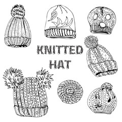 Collection with hand drawn knitted hats and berets. Monochrome  ink sketch objects  isolated on white background.