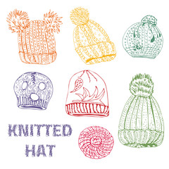 Set with hand drawn knitted hats and berets.Colored line of  ink sketch objects  isolated on white background.