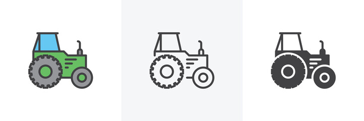 Agricultural tractor icon. Line, glyph and filled outline colorful version, Tractor truck outline and filled vector sign. Symbol, logo illustration. Different style icons set. Vector graphics Wall mural