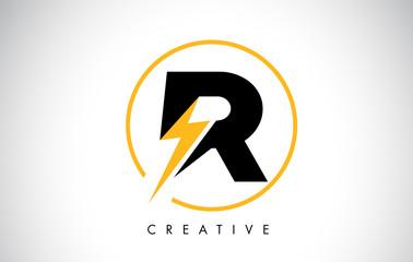 R Letter Logo Design With Lighting Thunder Bolt. Electric Bolt Letter Logo