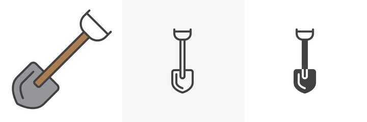 Short shovel icon. Line, glyph and filled outline colorful version, Shovel outline and filled vector sign. Symbol, logo illustration. Different style icons set. Vector graphics