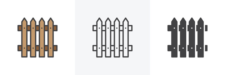 Plank fence icon. Line, glyph and filled outline colorful version, Picket fence outline and filled vector sign. Symbol, logo illustration. Different style icons set. Vector graphics