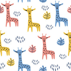 Cute giraffe hand drawn scandinavian drawing pattern