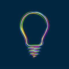 Colorful multi-layered outline of a light bulb with glowing light effect on blue background