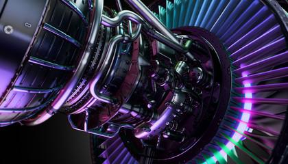 Part of real airplane turbine, 3d illustration Fototapete