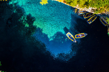 Famous Melissani lake on Kefalonia island, Greece
