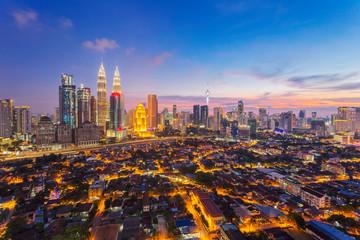 Papiers peints Kuala Lumpur City of Kuala Lumpur, Malaysia with ariel view at sunset