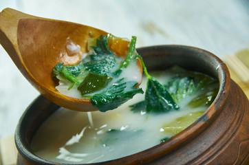 Spring vegetable soup nettle.