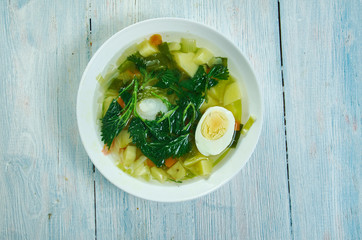 Spring vegetable soup nettle with egg