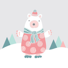 Cute bear with a multi-colour scarf and hat in the snow, vector illustration