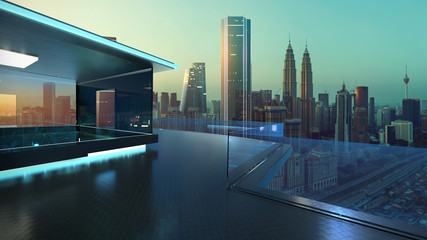 Fotomurales - 3D rendering of a modern glass balcony with kuala lumpur city skyline real photography background, early morning scene .Mixed media .
