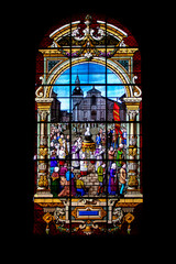 Moncontour. Vitrail de l'église saint Mathurin. Côtes-d'Armor. Bretagne