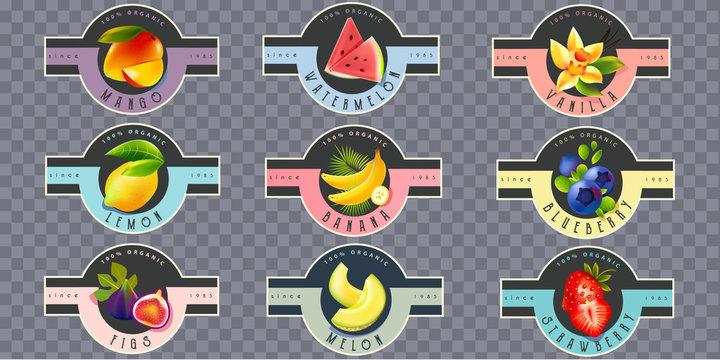 Vintage Fruit Labels for juice, yogurt, jam, tea, body lotion, skincare products
