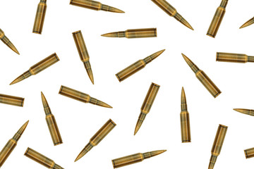bullets lined up on a white background. isolated ammunition pattern