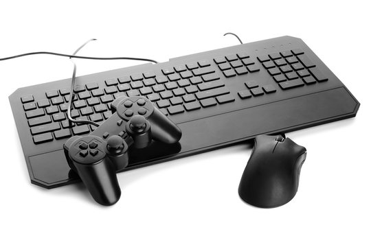 Modern gaming accessories on white background