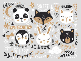 Vector set with cartoon animals - fox, bear, panda, bunny, penguin, cat, cute phrases and elements.