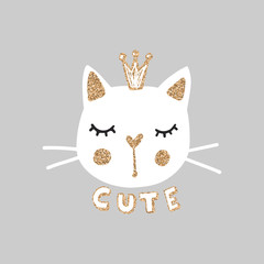 Cute princess cat vector illustration. Girly kittens. Fashion Cat's face