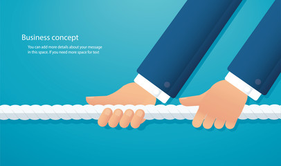 businessmen pull the rope business concept. tug of war background vector illustration EPS10 Wall mural