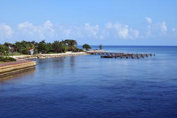 Falmouth, Jamaica,  blue sky and sea background