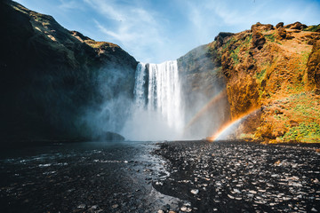 Wall Mural - Amazing view of popular tourist attraction. Location Skogafoss waterfall, Iceland, Europe.