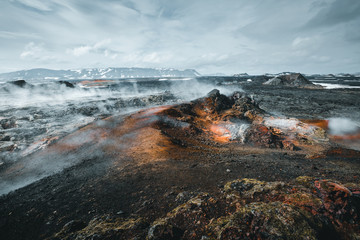 Exotic view of the geothermal valley Leirhnjukur. Location Myvatn lake, Krafla volcano, Iceland, Europe.