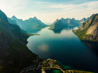 Fjord and mountains landscape. Lofoten islands Norway