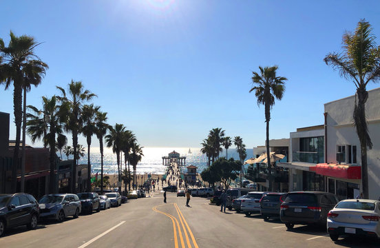 Panoramic wiew from Manhattan Beach Road to Pacific Ocean