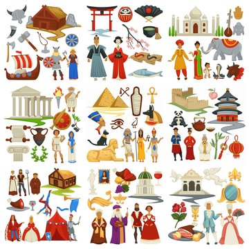 World history and countries culture traveling and exploration epochs