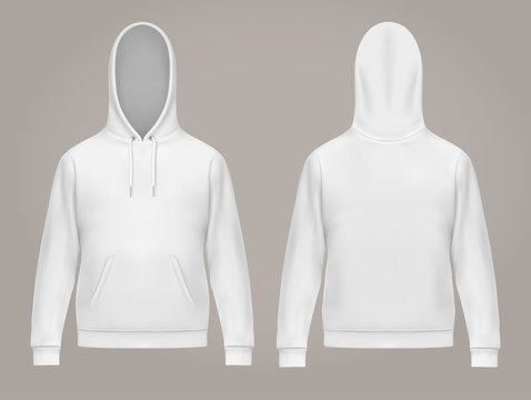 Man hoodie or front and back of white men hoody