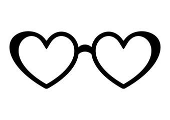 Glasses black heart icon. Symbol of love concept. Vector illustration