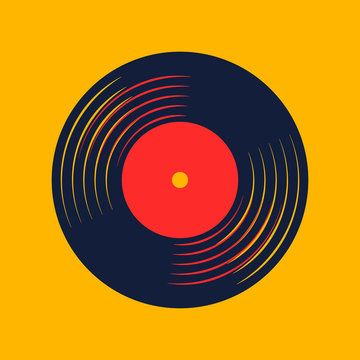 vinyl record music vector with vinyl record word