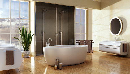 3D illustration of modern bathroom with wooden plank floor.
