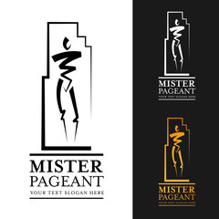 mister pageant logo sign with abstract  man modern line style vector art design
