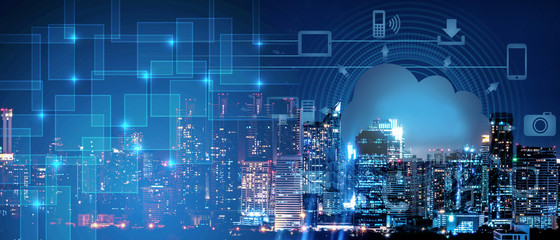 background of smart city intelligence networking on clound technology, night cityscape with digital and cloud technology sign and icon Wall mural
