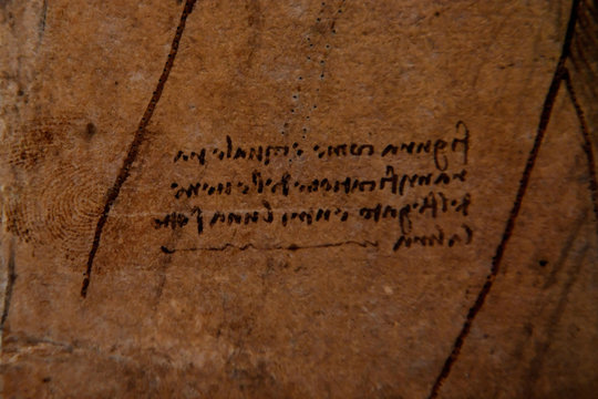 A detail shows what is believed to be Leonardo Da Vinci's thumbprint at A Life in Drawing in London