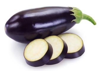 Fototapete - Fresh eggplant on white background