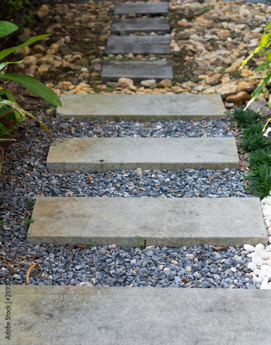 Landscape modern simple stone pathway in garden decoration with