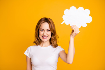 Close up photo beautiful amazing toothy she her foxy lady hold raise arm hand white mind cloud air excited mood announcement promotional wear casual white t-shirt isolated yellow background
