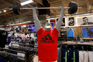 Adidas sportswear is seen on a mannequin at a sporting goods store in New York City