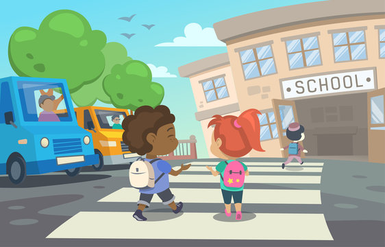This illustration shows children with school bags who are returning to school