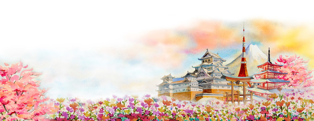 Famous landmarks of Japan in spring. Wall mural